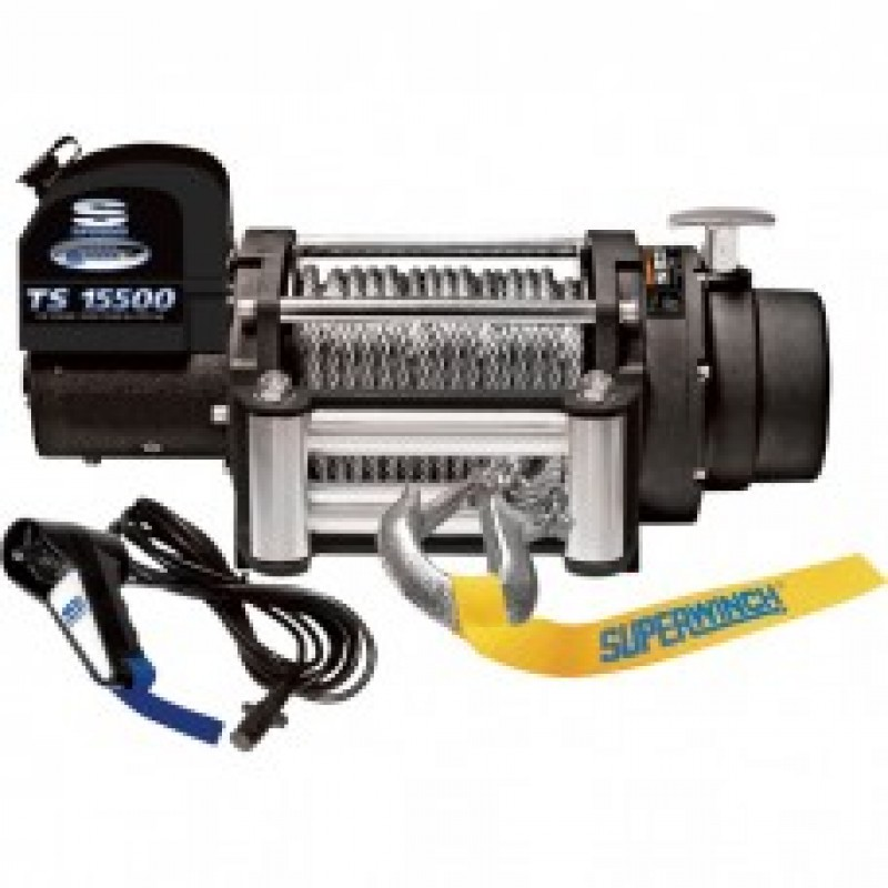 Tiger Shark 12 Volt DC Winch with Remote - 15,500-Lb. Capacity, 5.7 HP
