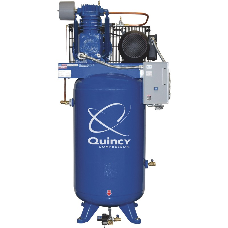 Quincy QT-7.5 Splash Lubricated Reciprocating Air Compressor with MAX Package - 7.5 HP, 230 Volt, 1 Phase, 80 Gallon Vertical
