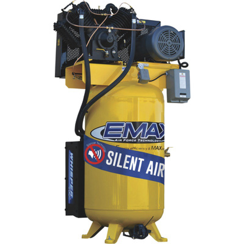 EMAX Industrial Plus Silent Air 10 HP, 2-Stage, 80-Gallon, Vertical Air Compressor with Silencer - 230 Volt, 1-Phase