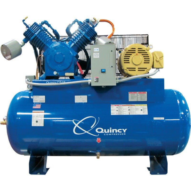 Quincy QT-15 Splash Lubricated Air Compressor with MAX Package - 15 HP, 230 Volt, 3 Phase, 120 Gallon Horizontal