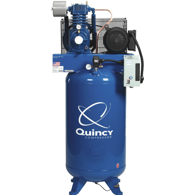 Quincy QP-7.5 Pressure Lubricated Reciprocating Compressor - 7.5 HP, 230 Volt, 1 Phase, 80-Gallon Vertical