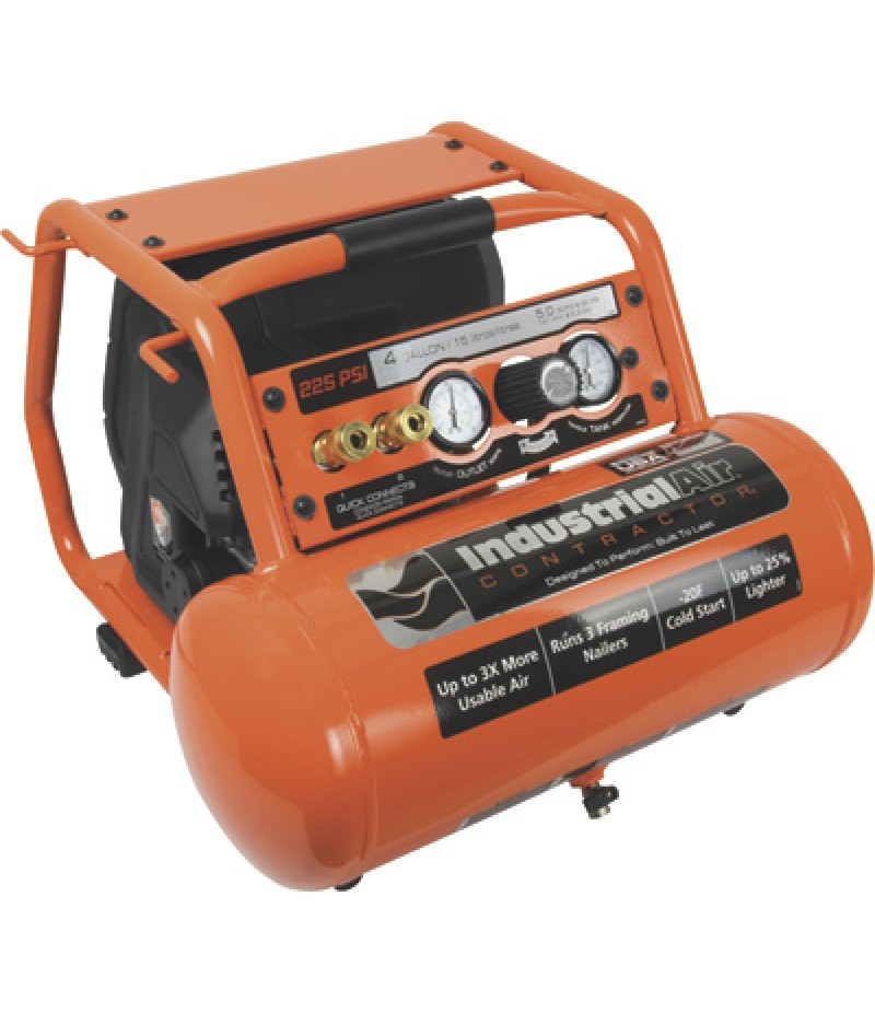 Industrial Air Contractor Pro Crew Portable Electric Air Compressor - 1.7 HP, 4-Gallon, 225 PSI, 5.1 CFM 90 PSI
