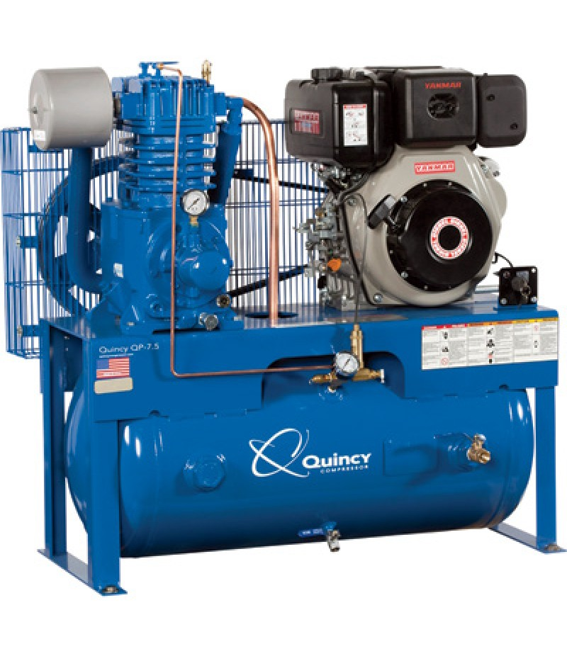 Quincy QP-10 Pressure Lubricated Reciprocating Air Compressor - 10 HP Yanmar Diesel Engine, 30 Gallon Horizontal