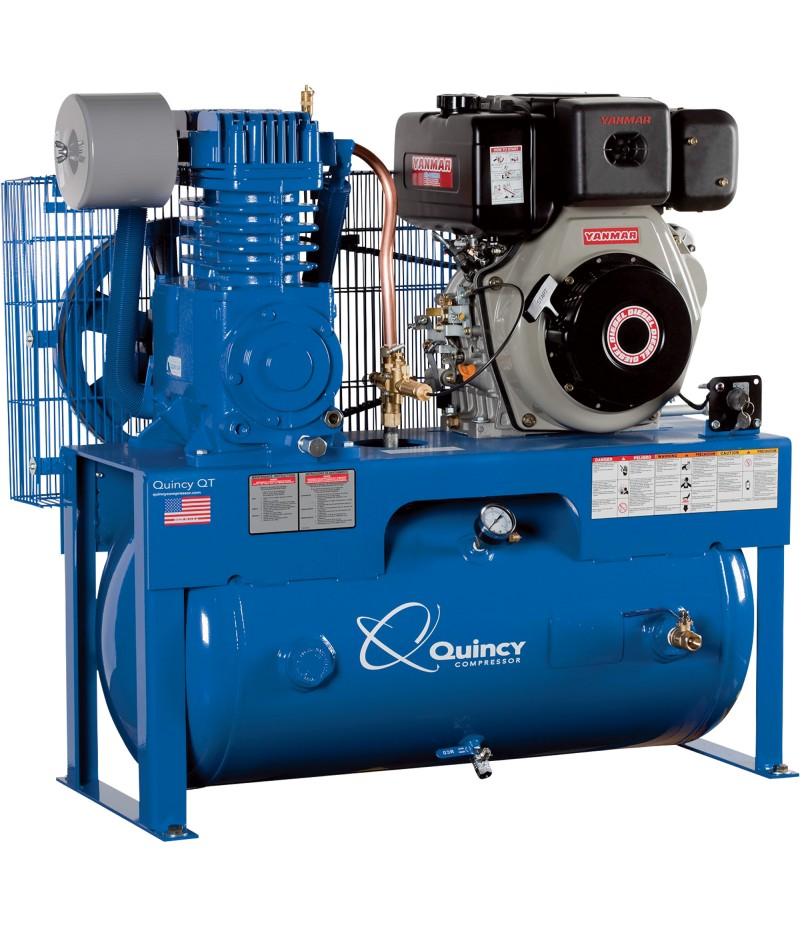 Quincy QT-7.5 Splash Lubricated Reciprocating Air Compressor - 10 HP Yanmar Diesel Engine, 30-Gallon Horizontal