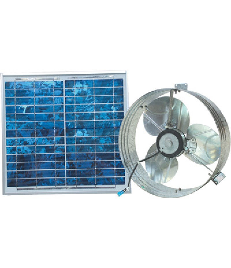 Ventamatic Solar-Powered Ventilating Fan with Panel - Gable-Mounted Ventilator, 1000 CFM
