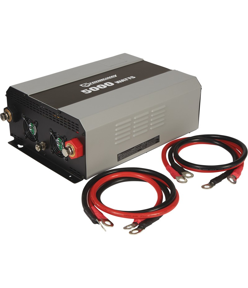 Strongway Modified-Sine Wave Portable Power Inverter with Cables - 5000 Watts, 4 Outlets/1 USB Port