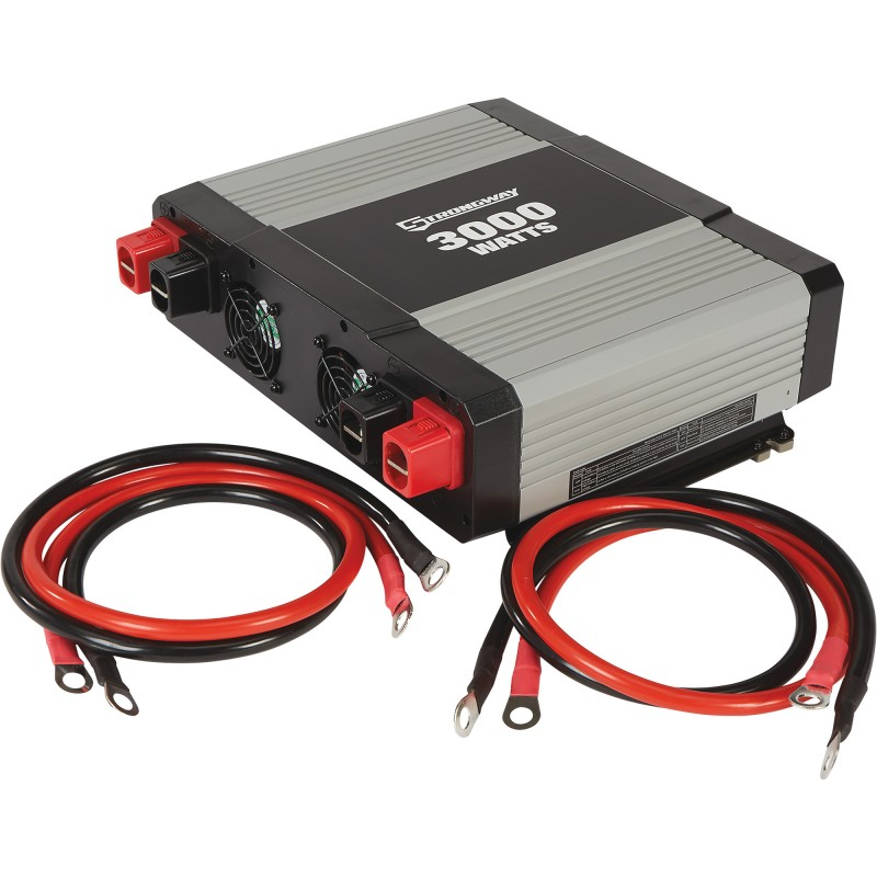 Strongway Modified-Sine Wave Portable Power Inverter with Cables - 3000 Watts, 3 Outlets/1 USB Port