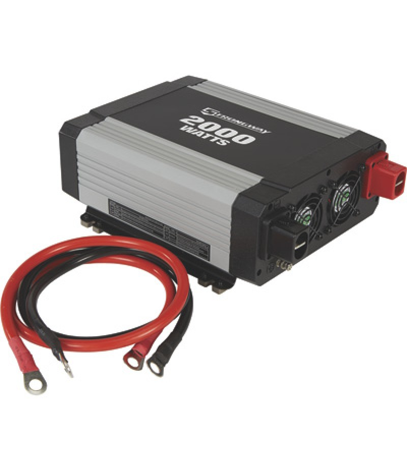 Strongway Modified-Sine Wave Portable Power Inverter with Cables - 2000 Watts, 3 Outlets/1 USB Port