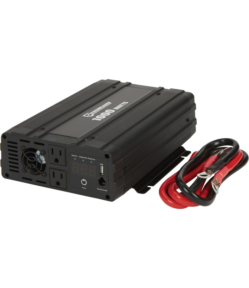 Strongway Pure Sine Wave Power Inverter - 1000 Continuous Watts, Includes Cables and Remote Control