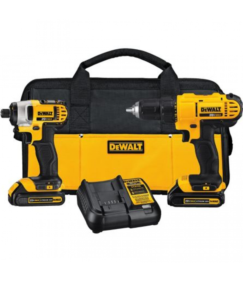 DeWALT 20V MAX Lithium-Ion Drill Driver/Impact Driver Combo Kit, 1.3Ah