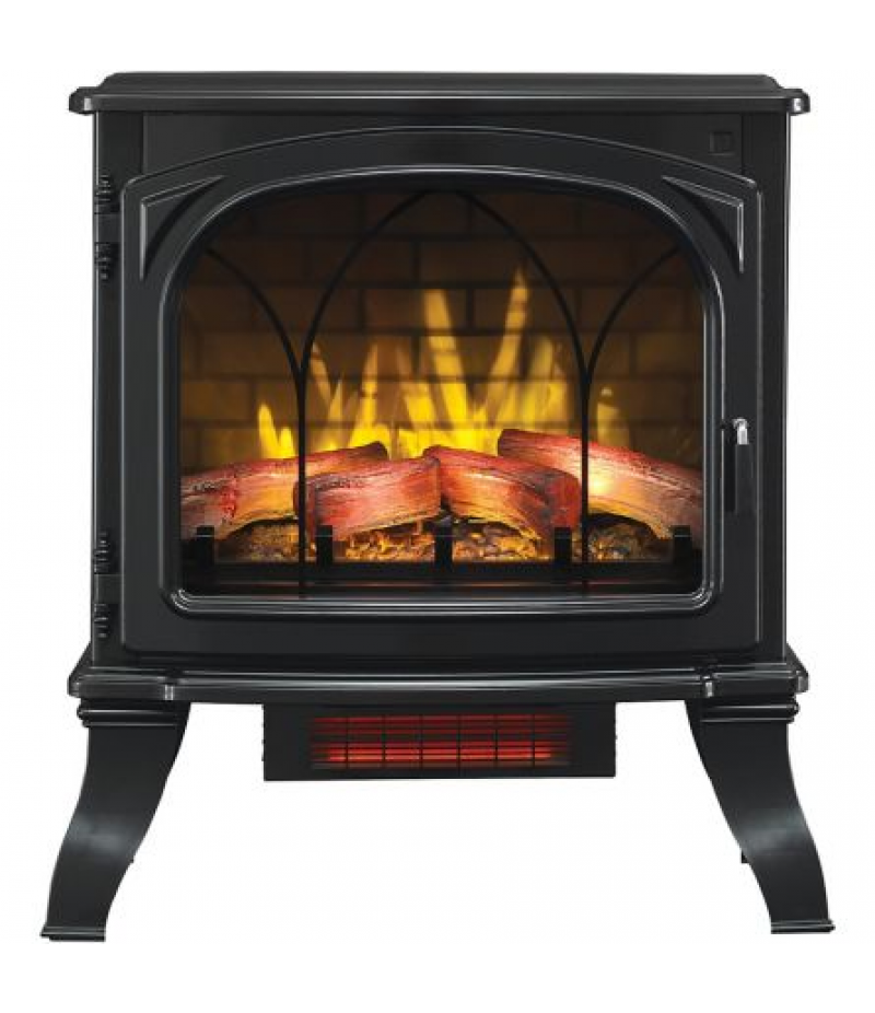 RedStone Infrared Quartz Freestanding Fireplace 1,000 sq. ft. Heated Stove with 3D Flame Effect, Black