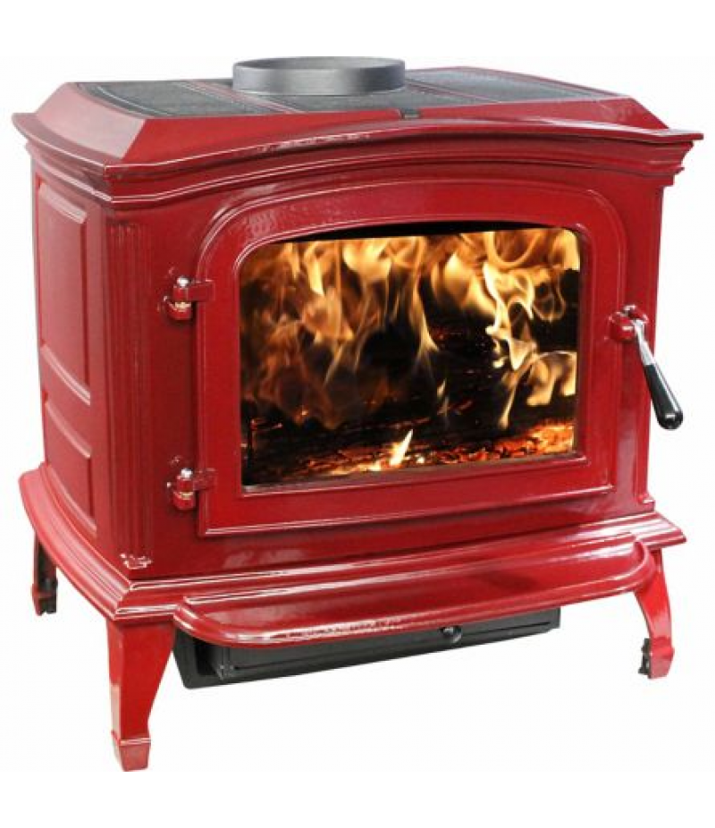 Ashley Cast Iron Red Enamel Wood Stove, 1,200 Sq. Ft