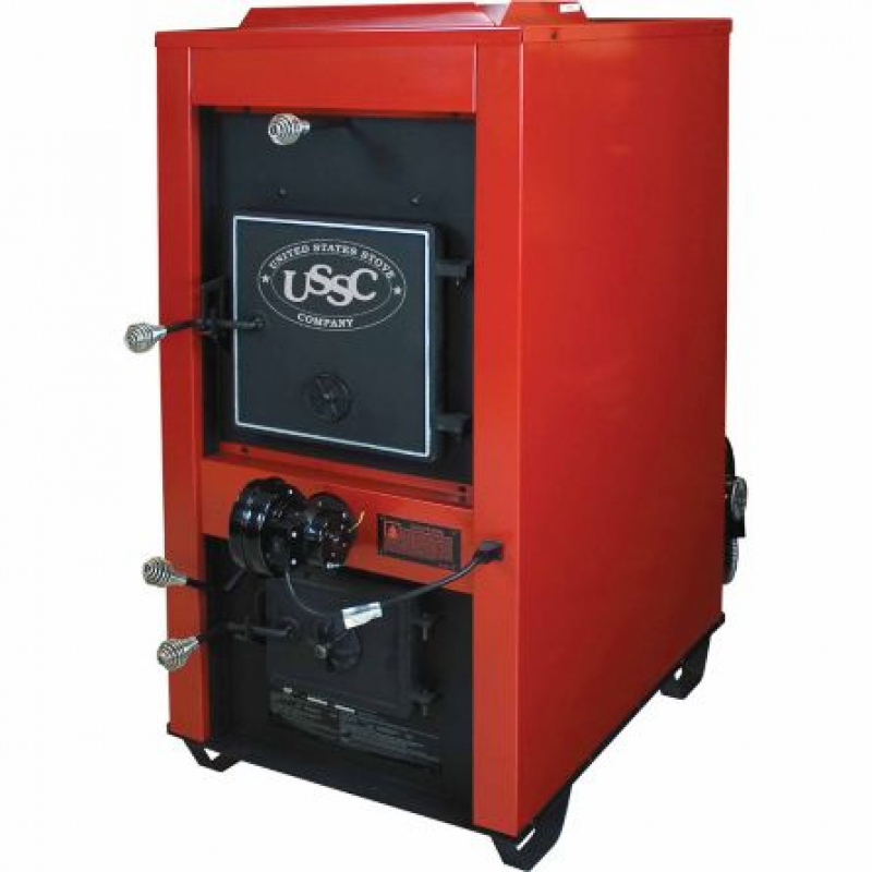 US Stove Coal Furnace, 3,000 sq. ft. Red with Dual 800 CFM Blowers, Coal Only, 1602R