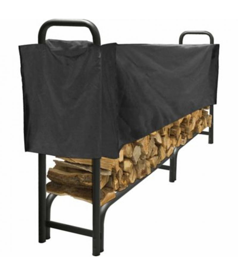 Pleasant Hearth 8 ft. Heavy-Duty Log Rack with Half Cover