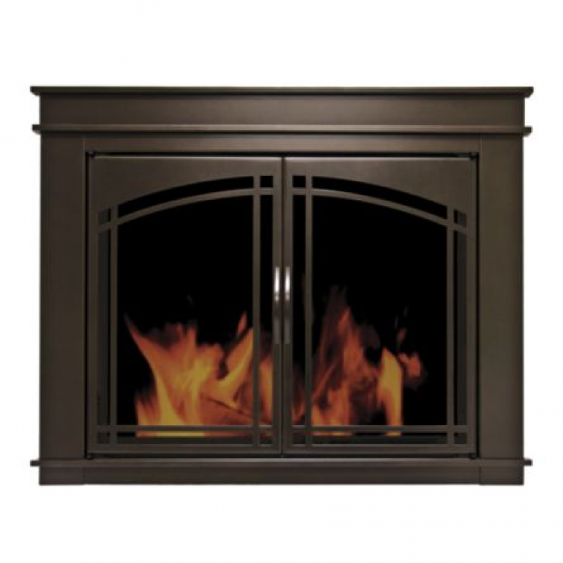 Pleasant Hearth Cabinet Style Fireplace Glass Door, Fenwick, Rubbed Bronze, Medium