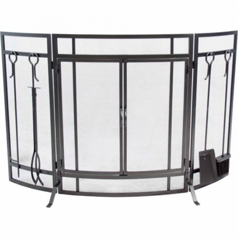 Pleasant Hearth Curved Fireplace Screen with Tools