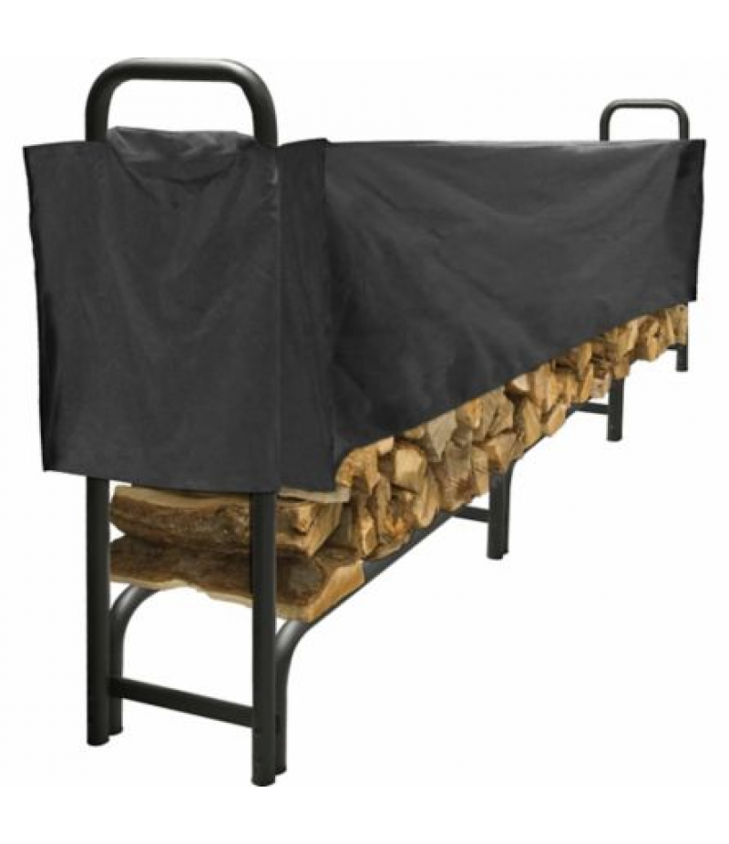 Pleasant Hearth 12 ft. Heavy-Duty Log Rack with Half Cover