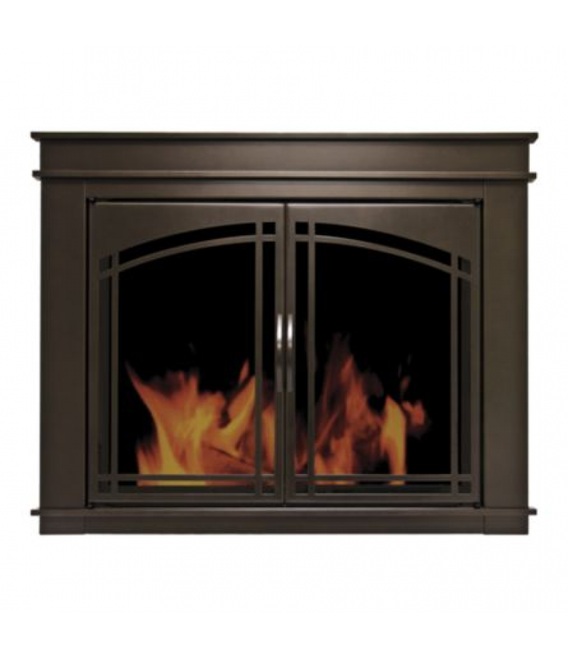 Pleasant Hearth Cabinet Style Fireplace Glass Door, Alpine, Black, Large