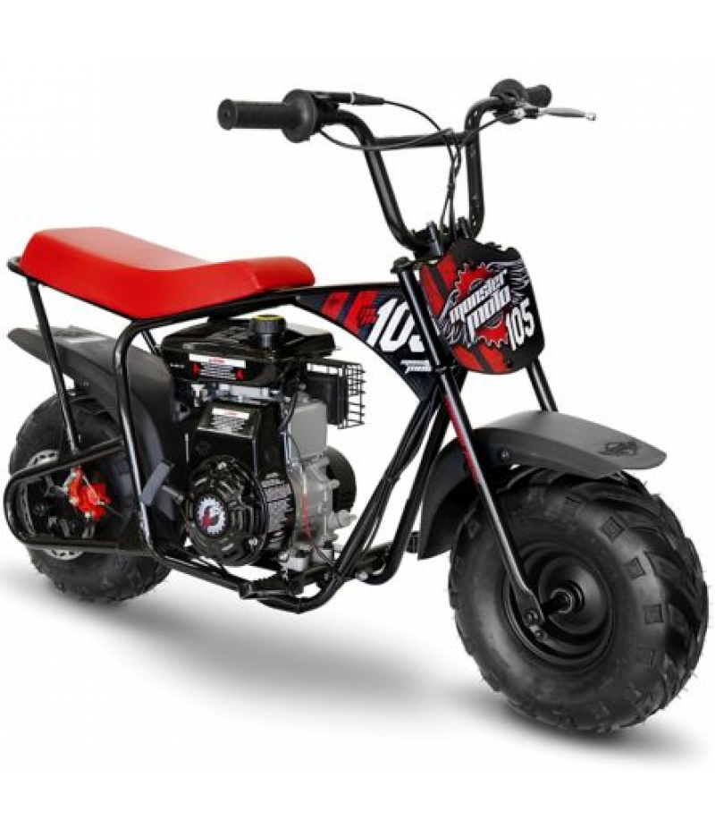 Monster Moto Red and Black Classic Gas Mini Bike, 105cc OHV
